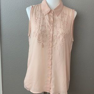Blush Button Front Tank with Embroidery Detailing